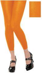 Black Light Neon Orange Footless Tights