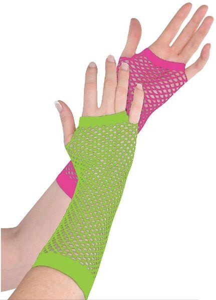 Neon Long Fishnet Gloves