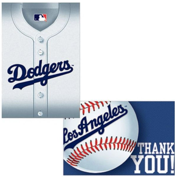 Los Angeles Dodgers Invitation & Thank You Card Set, 8ct