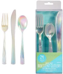 Shimmering Party Cutlery Asst. - Iridescent Plastic, 24ct