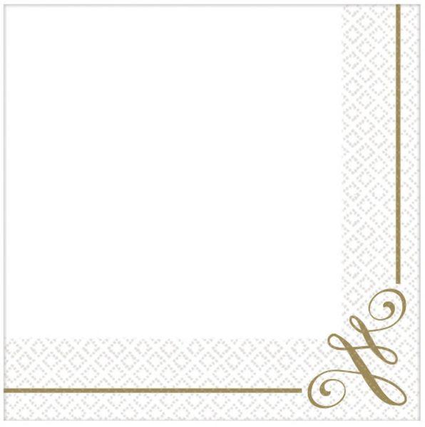 Gold Scroll Premium Beverage Napkins, 16ct