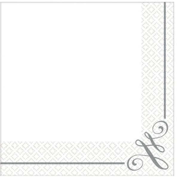 Silver Scroll Beverage Napkins, 16ct
