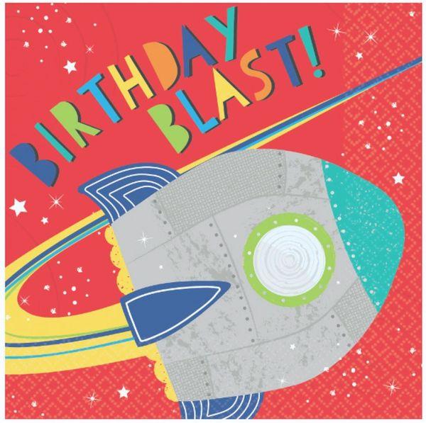 Blast Off Birthday Lunch Napkins, 16ct