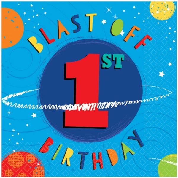 Blast Off 1st Birthday Lunch Napkins, 16ct