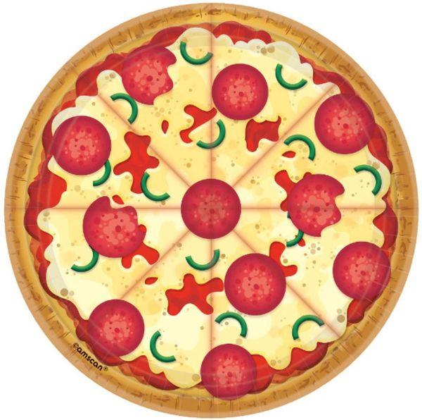 "Pizza Party Dessert Plates, 7"" - 8ct"