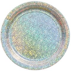 """Round Prismatic Dessert Plates - Silver, 7"""" - 8ct"""