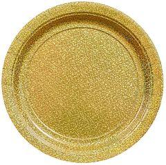 "Prismatic Gold Dessert Plates, 7"" - 8ct"