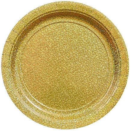 "Round Prismatic Plates - Gold, 7"" - 8ct"