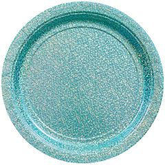 """Round Prismatic Lunch Plates - Robin's Egg Blue, 9"""" - 8ct"""