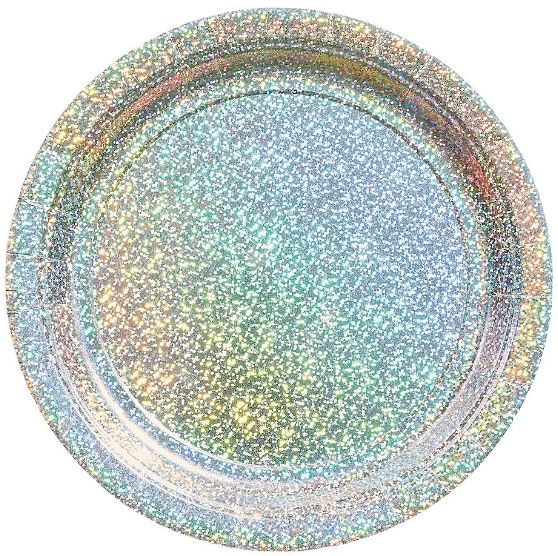 "Round Prismatic Lunch Plates - Silver, 9"" - 8ct"