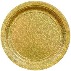 "Round Prismatic Plates - Gold, 9"" - 8ct"