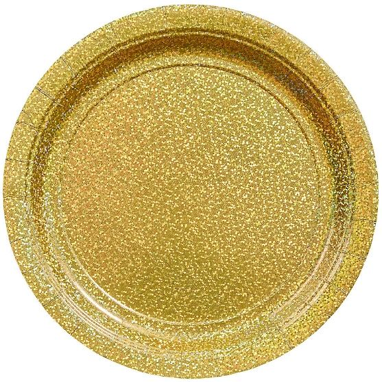 "Round Prismatic Plates - Gold, 9"" - 8ct"