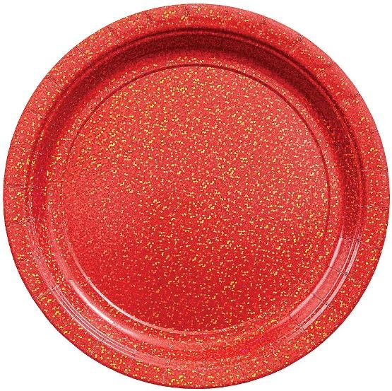 "Round Prismatic Plates - Apple Red, 9"" - 8ct"