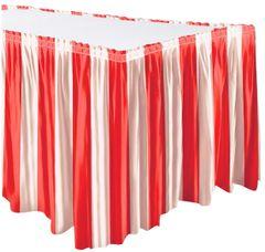 Carnival Red & White Stripe Table Skirt