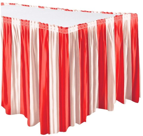 Carnival Red & White Stripe Table Skirt