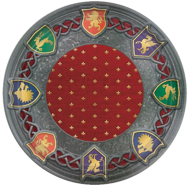 "Metallic Medieval Dinner Plates, 10 1/2"" - 8ct"