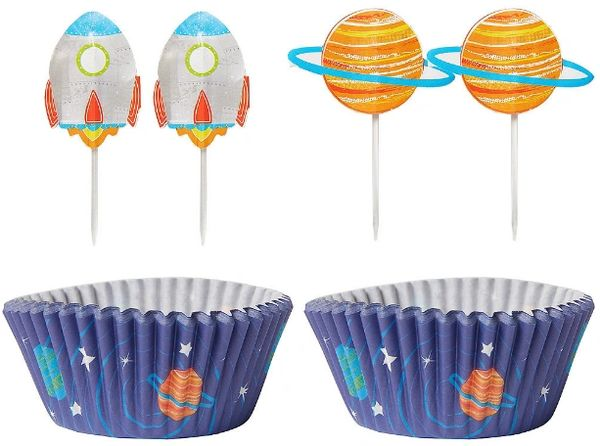 Blast Off Birthday Cupcake Cases and Picks for 24ct