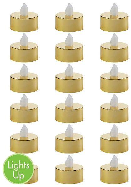 Metallic Gold Tealight Flameless LED Candles, 18ct