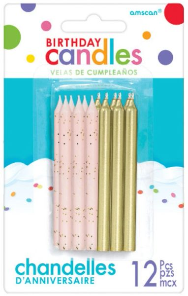 Glitter and Metallic Candles - Gold, 12ct