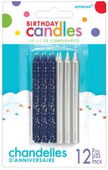 Glitter and Metallic Candles - Silver, 12ct
