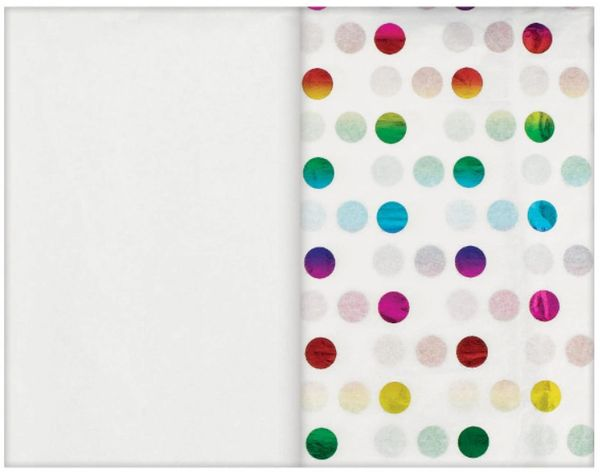 Rainbow Dot Specialty Tissue & Solid White Tissue Paper Sheets, 8ct
