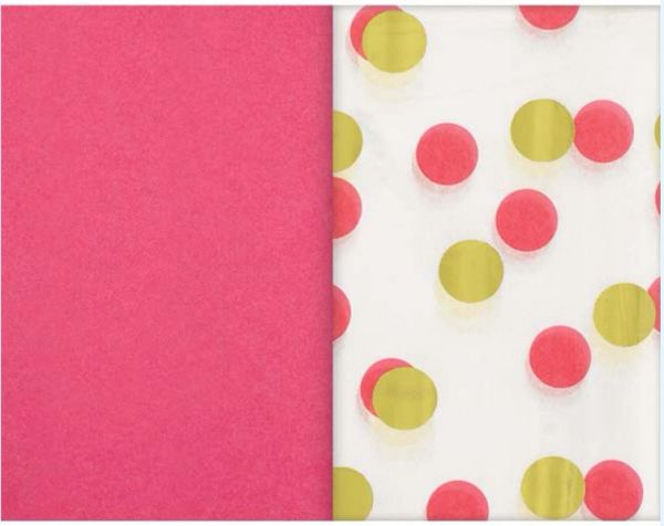 Pink & Gold Dots Specialty Tissues & Solid Pink Tissue Paper Sheets, 8ct