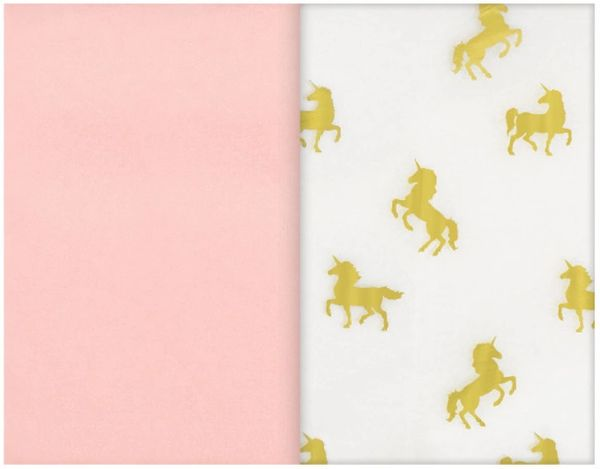 Gold Unicorn Specialty Tissues & Soft Pink Tissue Paper Sheets, 8ct