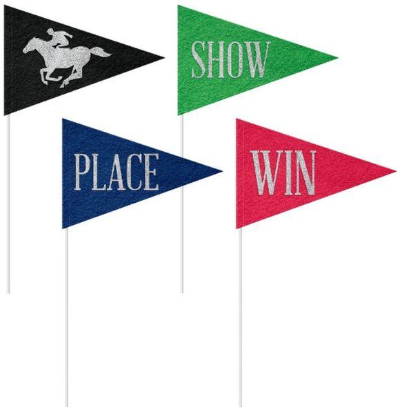Horse Race Felt Pennant Flags, 4ct