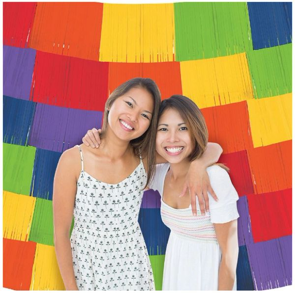Rainbow Fringe Backdrop Banners, 9ct