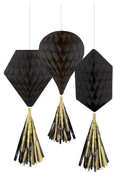 Mini Honeycombs w/ Tassels - Black, 3ct