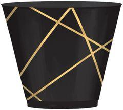 Black Metallic Gold Line Premium Tumblers, 9oz - 24ct
