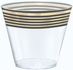 Gold Stripe Plastic Tumblers, 9oz - 24ct