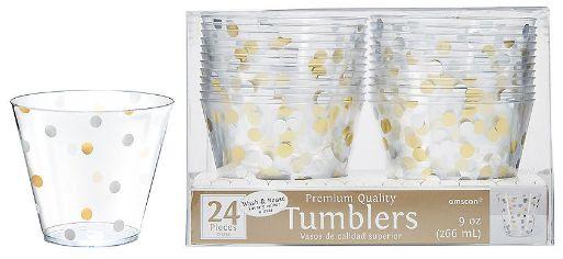 Gold/Silver Confetti Plastic Tumblers, 9oz - 24ct