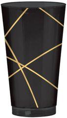 Black Metallic Gold Line Premium Plastic Cups, 16oz - 16ct