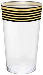 Black & Metallic Gold Stripe Premium Plastic Cups, 16oz - 16ct