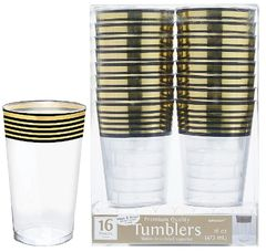 Gold Stripe Plastic Tumblers, 16oz - 16ct