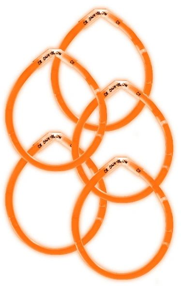 "8"" Orange Glow Sticks, 5ct"