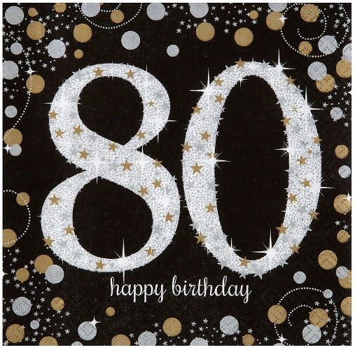 Sparkling Celebration 80th Birthday Luncheon Napkins, 16ct