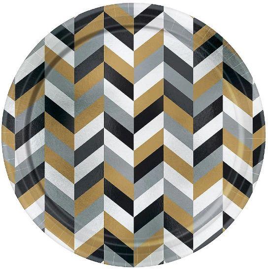 "Metallic Black, Gold & Silver Herringbone Dessert Plates, 7"" - 8ct"