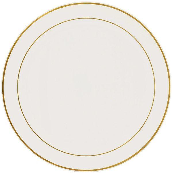 "Cream Tray w/Gold Trim Platter, 16"""