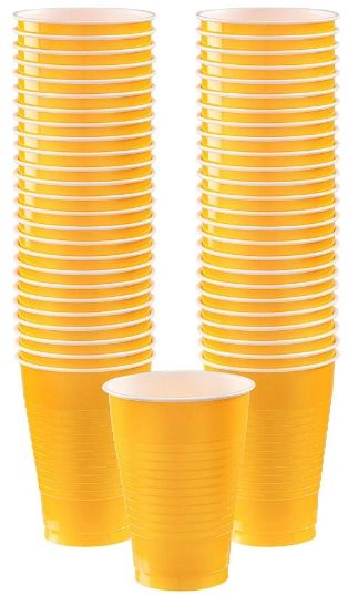 Big Party Pack Yellow Sunshine Plastic Cups, 12oz - 50ct