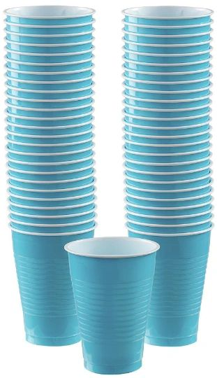 Big Party Pack Caribbean Blue Plastic Cups, 12oz - 50ct