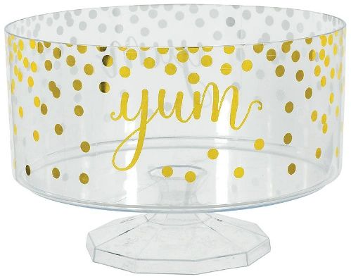 Hot-Stamped Trifle Plastic Container, Medium - Gold, 76oz