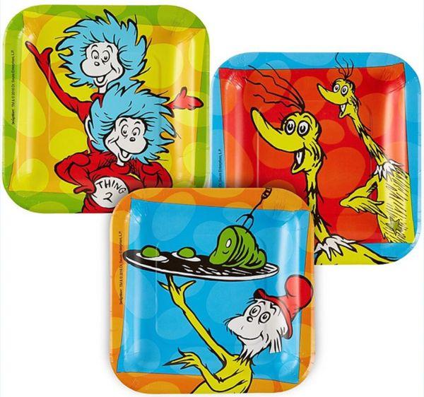 """Dr. Seuss Square Dessert Plates, 7"""" - 8ct"""