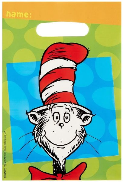 Cat In The Hat Folded Loot Bag, 8ct