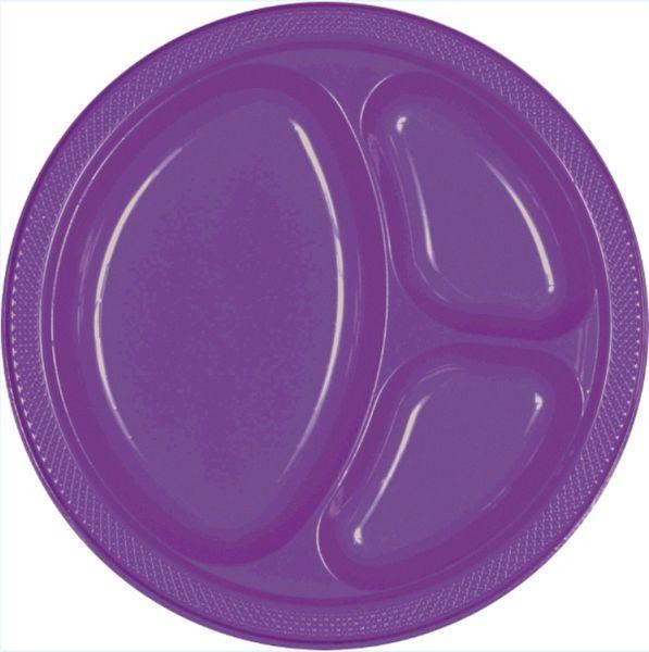 "Purple Divided Plastic Plates, 10 1/4"" - 20ct"