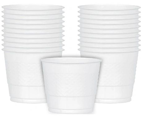 White Plastic Cups, 9 oz - 20ct