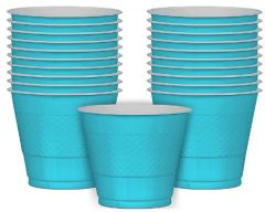 Caribbean Blue Plastic Cups, 9 oz - 20ct