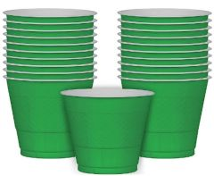 Festive Green Plastic Cups, 9oz - 20ct