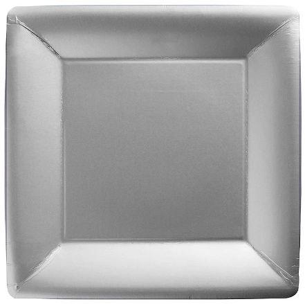 """Silver Square Dessert Plates, 7"""" - 20ct"""
